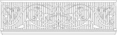 1185mm Height Steel Railing with Wooden Handrail Front Elevation dwg Drawing