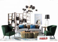 Wohnzimmer Design mit grauem und grünem Sofa, dunkle Stehlampe 3ds max