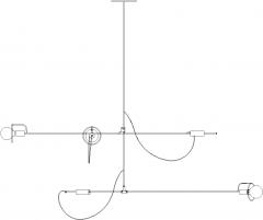 1200mm Length Steel Stand Chandelier Rear Elevation dwg Drawing