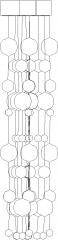 1240mm Length Curvy Bubble Design Chandelier Left Side Elevation dwg Drawing