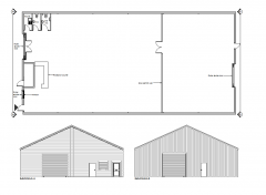 Factory unit plan and elevs