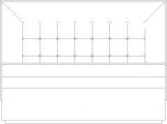 1245mm Wide Double Side Seater with 60mm Thick Cushion Rear Elevation dwg Drawing