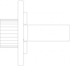 124mm Length Curvy Drawer Handle Left Side Elevation dwg Drawing