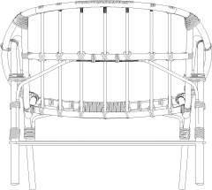 1250mm Rattan Made Outdoor Chair Rear Elevation dwg Drawing
