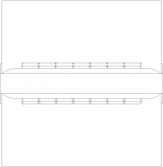 1256mm Wide Double Side Seater with 60mm Thick Cushion Plan dwg Drawing