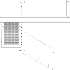 1264mm Wide I-Beam Stairs with Glass Handrails Left Side Elevation dwg Drawing