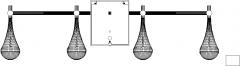 126mm Length Water Drop Design Lights Rear Elevation dwg Drawing