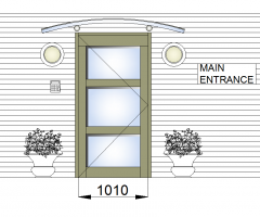 Entrance door with canopy