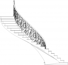 1297mm Wide Traditional Stairs with Gothic Design Railing Left Side Elevation dwg Drawing