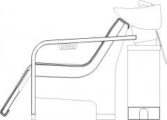 1308mm Width Salon Wash Basin For Hair Right Elevation dwg Drawing
