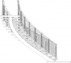 1310mm Wide Wooden Stairs with Steel Handrails Left Side Elevation dwg Drawing