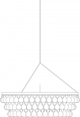1365mm Length Royal Chandelier with Pearl Light Rear Elevation dwg Drawing