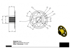 Inventor 2D CAD drawing of a  Disc With internal Threaded shaft