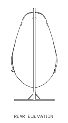 1420mm Height Swing Rattan Made with Steel Stand Rear Elevation dwg Drawing