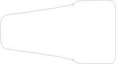 142mm Length Curve Style Closet Handle Right Side Elevation dwg Drawing