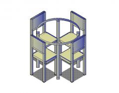 Round Dining Table 3D CAD block