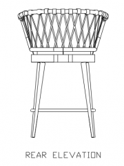 1440mm Height Rattan Made Stool with 60mm Cotton Rear Elevation dwg Drawing