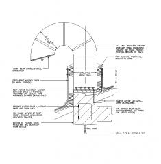 Dettaglio CAD per condotto di scarico a collo d'oca