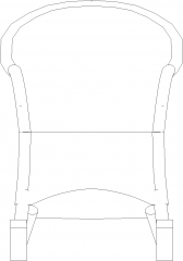 1450mm Height Rocking Chair Rattan Made Front Elevation dwg Drawing