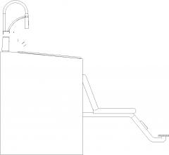 1463mm Width Portable Hair Salon Wash Basin Left Elevation dwg Drawing
