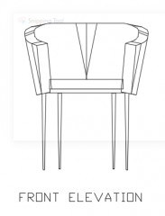 1480mm Height Rattan Made Chair with 30mm Cotton Front Elevation dwg Drawing