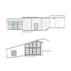 French house with oak extension CAD drawing