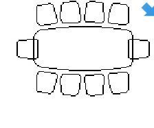 Table and 10 chairs in top view dwg model
