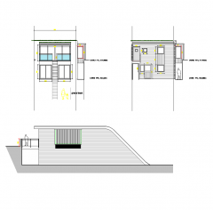 Modern house with grass roof CAD drawing