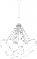 1524mm Length Bulb Concept Chandelier Rear Elevation dwg Drawing