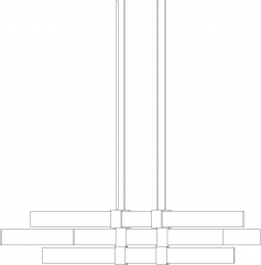 1546mm Length Modern Contemporary Chandelier Right Side Elevation dwg Drawing