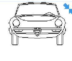 Porsche in elevation view dwg model