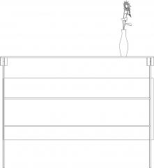 1595mm Wide Parlor Front Desk Rear Elevation dwg Drawing