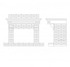 Brick fireplace CAD block dwg