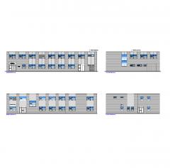 Plan de edificio de oficinas y plano dwg de elevaciones