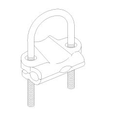 U bolt pipe clamp isometric view DWG block