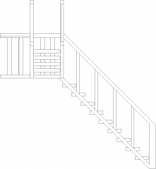 1656mm Wide Wooden Stairs Left Side Elevation dwg Drawing