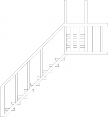 1656mm Wide Wooden Stairs Right Side Elevation dwg Drawing