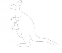 Блок DWG возвышения кенгуру