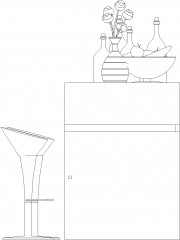 1749mm Height Mini Bar Counter with Two Bar Stools Front Elevation dwg Drawing