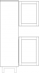1753mm Height Divided Lite with Glass Cabinet Left Side Elevation dwg Drawing
