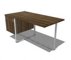 Office Desk with Drawers revit model