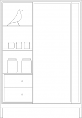 1775mm Height Display Cabinet with Drawers Front Elevation dwg Drawing