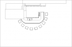 18.10sqm Wooden Bar Counter with Bar Stools Plan dwg Drawing