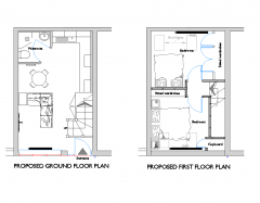 Maisonette design plan and elevations dwg