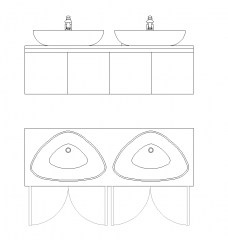His & Hers Double Bathroom Vanity Sink Unit dwg