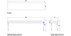 End of bed bench seat DWG drawing