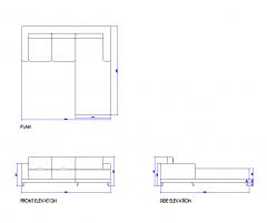Right hand corner sofa dwg drawing