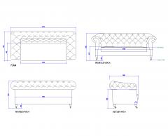 Chesterfield sofa dwg