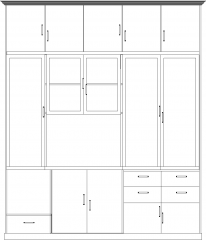 1897mm Height Display Cabinet with Drawers Front Elevation dwg Drawing