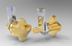 Solid-works 3D CAD Model of Lever latches with knob, A=22 Weight g=130